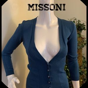 Missoni Azule Blue Cotton & Elastine Cardigan
